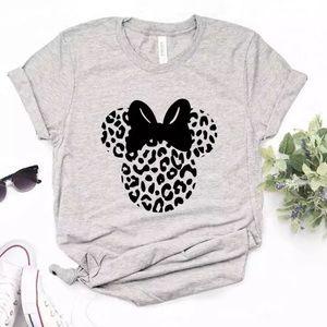 Minnie Mouse Leopard Print Gray Tee Shirt